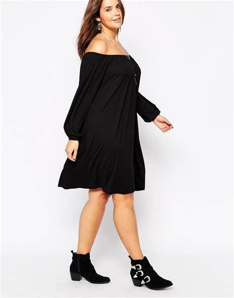 off the shoulder swing dress asos gypsy off shoulder swing dress in black lyst