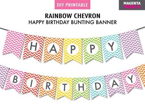 Bunting Flag Happy Birthday Rainbow Chevron instant rainbow diy happy birthday printable bunting banner chevron rainbow