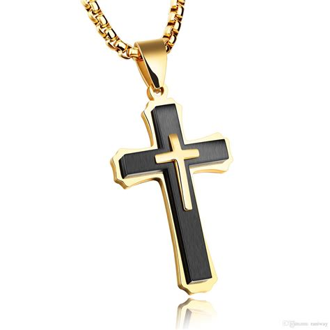 wholesale mens crucifix cross necklace for men women solid