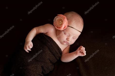 beautiful baby with flower headband stock image image newborn baby with flower headband stock photo