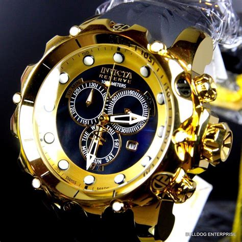 invicta reserve venom sea ii black high gold plated new ebay