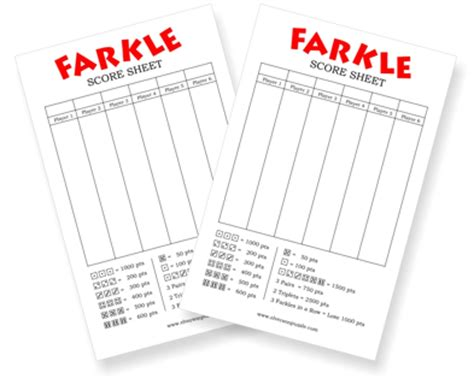 printable judging cards farkle score sheet printable farkle scoring cards