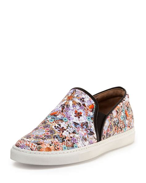 floral slip on sneakers simmons floral print leather slip on sneaker lyst