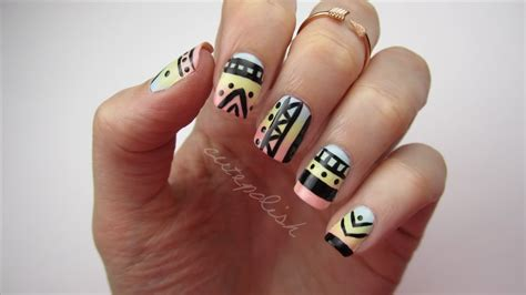 cute simple tuxedo nail art design by cutepolish the easy tribal print nails youtube