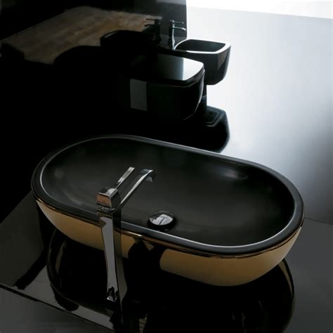 Midas Grey Original midas ceramic gold black ultra modern gold black vessel sink