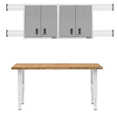 premier cabinets home depot gladiator 6 ft hardwood top adjustable height workbench