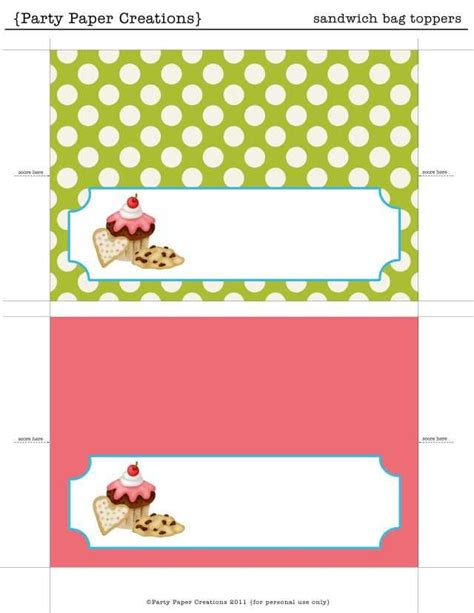Printable Bag Toppers View This Link To Download The Bake Sale Printables Paper Crafts Free Printable Bag Toppers Templates