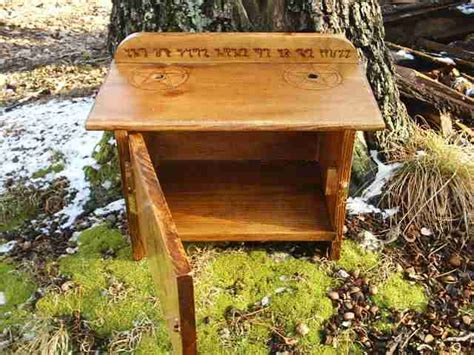 wiccan altar table with cabinet door
