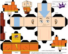 Avatar Papercraft - aang from avatar the last airbender as a cubeecraft