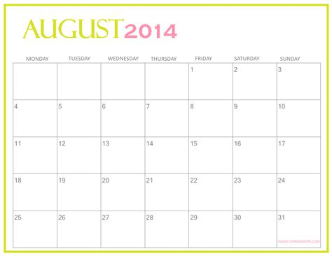 free 2014 calendar template fresh designs august 2014 calendar by shining