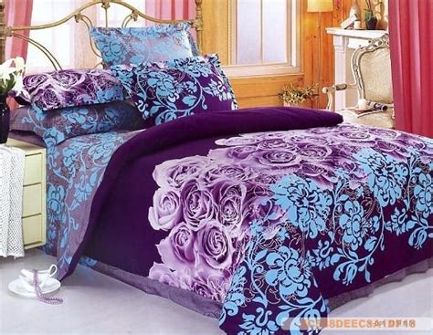 purple blue flowers design queen bed quilt comforter duvet