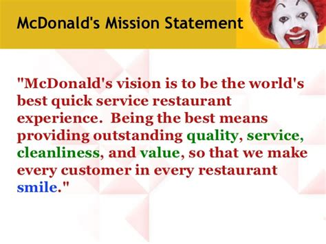 mcdonald s mission statement we are