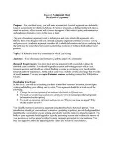 Classical Argument Essay Exle by Classical Argument Essay Exle