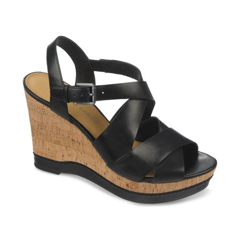 franco sarto black sandals franco sarto shiver platform wedge sandals in black lyst