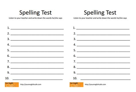 spelling test template 10 words 2nd grade spelling test pictures to pin on