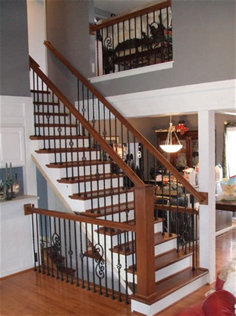 new banister and spindles stairway update iron spindle replacement solid wood