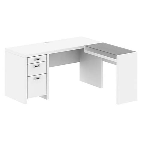 White L Shaped Desk Kathy Ireland By Bush New York Skyline L Shape Desk In Plumeria White Ki10201 03k