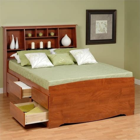 High Platform Bed Bookcase High Platform Storage Bed In Cherry Cbq 6212 Kit