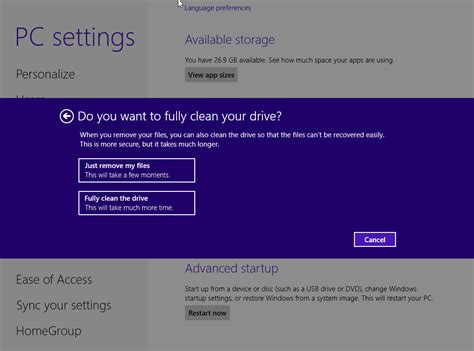 resetting windows machine how to factory reset windows 8 8 1