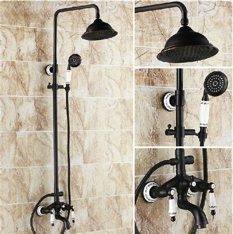 Rubbed Bronze Shower Faucet Set by Luxury Ceramic Deco Rubbed Bronze Bath Rainfall Shower