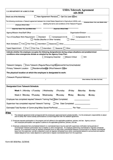 Telework Agreement Template by Fillable Usda Telework Agreement Ad 3018 Printable Pdf