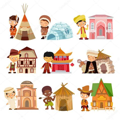 types of traditional houses nationalities with their traditional houses stockvektor
