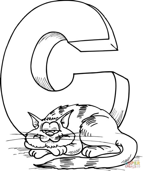 C Coloring Pages by Letter C Is For Cat Coloring Page Free Printable