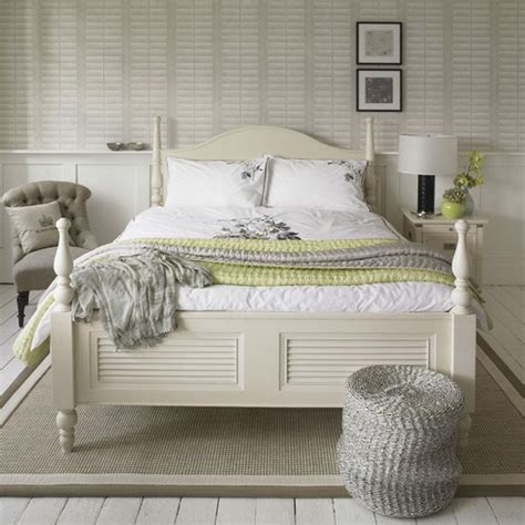 white shabby chic bedroom decorating in black and white accents gives impact to a