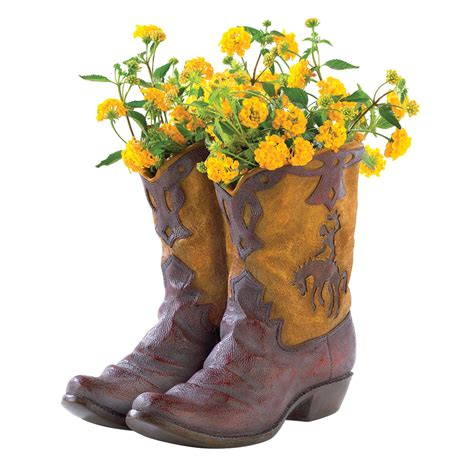 Boot Planter Planters Garden Cowboy Boot Rustic Unique Pots For Plants