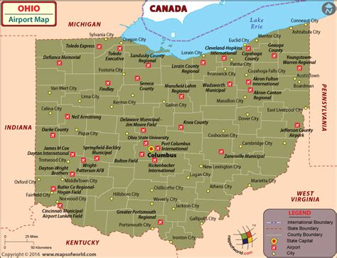 ohio map in usa airports in ohio ohio airports map