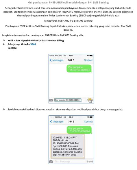 format sms banking bni 2015 tata cara pembayaran pnbp melalui bni sms banking