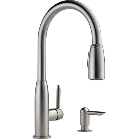 kitchen pull faucet shop peerless stainless 1 handle pull kitchen faucet at lowes