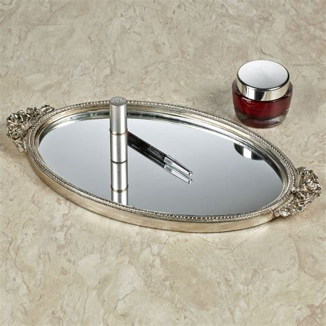 Silver Vanity Tray by Corliss Silver Finish Mirrored Vanity Tray