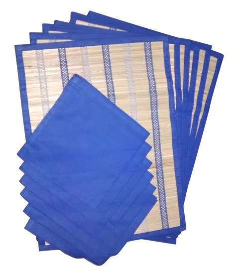 airwill blue table mats with napkins set of 6 buy