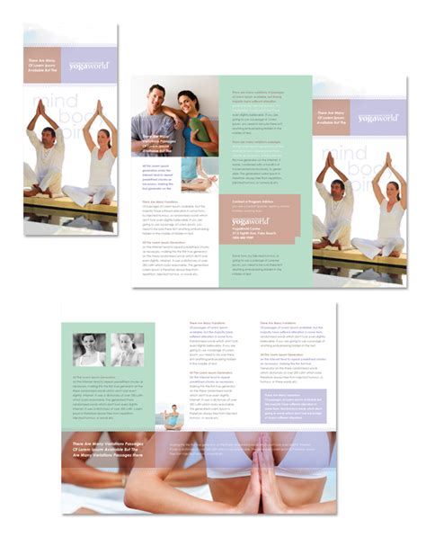 pilates yoga tri fold brochure template