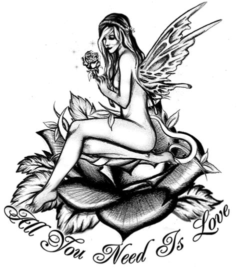 fairy and rose tattoo designs by tara grady at coroflot