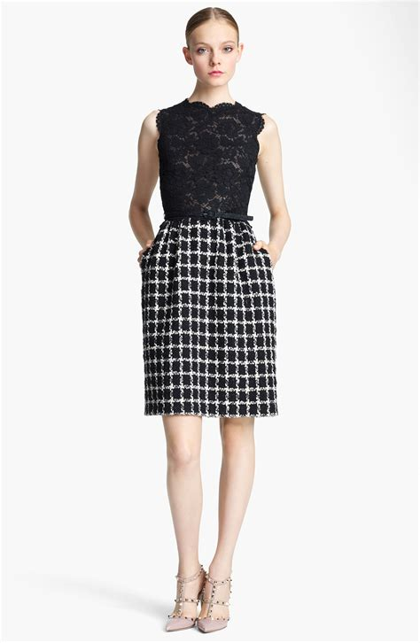 valentino belted lace tweed dress in black lyst