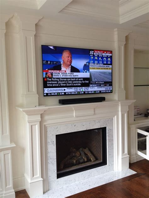 above fireplace sonos playbar with 65 quot samsung tv above fireplace 2