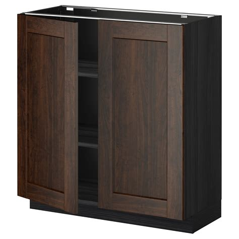 2 Door Cabinet With Shelves Metod Base Cabinet With Shelves 2 Doors Black Edserum Brown 80x37 Cm Ikea