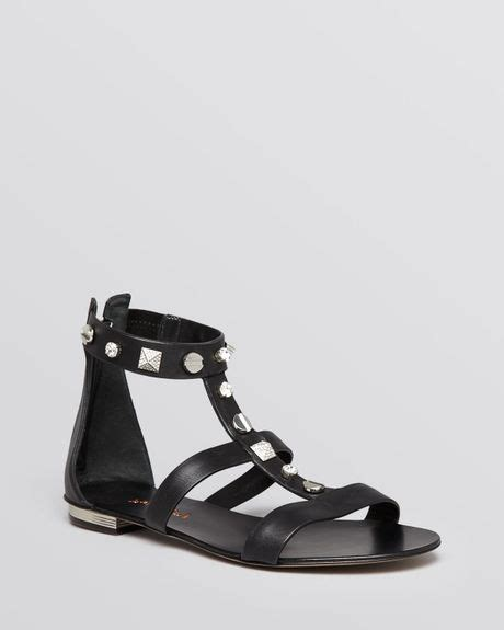 studded gladiator flat sandals le silla flat studded gladiator sandals in black lyst