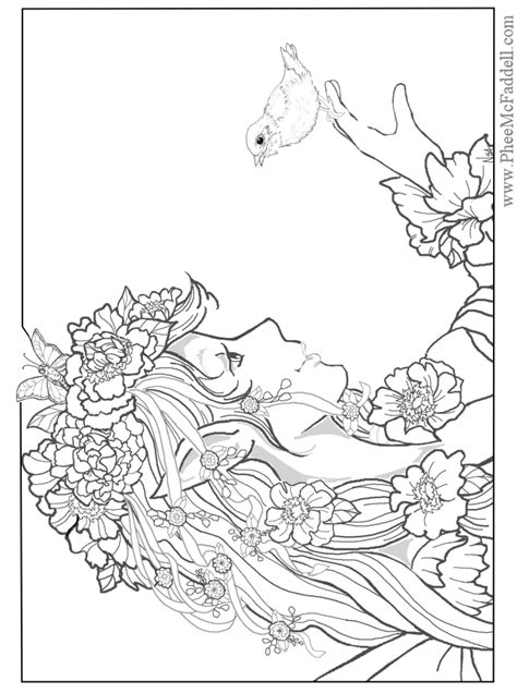 coloring pages for adults of fairies enchanted designs mermaid free
