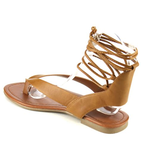sandals lace up soda ia41 s lace up strappy cutout back flat
