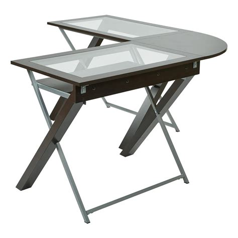 glass l with ospdesigns and silver desk xt25l the home depot