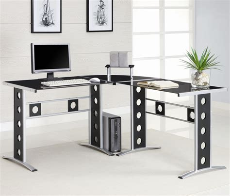 glass corner computer desks for home coaster modern l shape desk with silver frame black