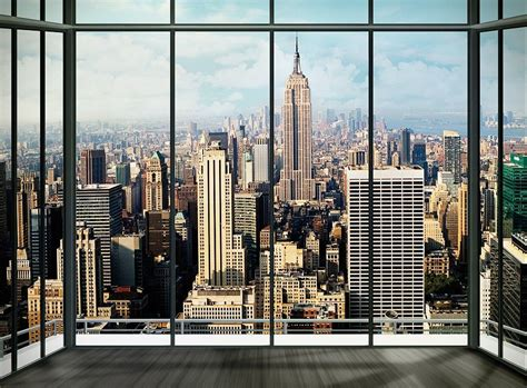 new york wall mural wall mural wallpaper 315x232cm new york penthouse view from window decor paper ebay