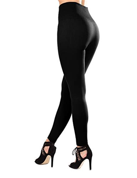 40199 Black Lined Tight Size S sejora fleece lined high waist compression slimming warm opaque tights one size black