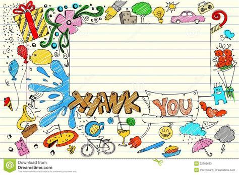 doodle thanks thank you doodle colorful background royalty free