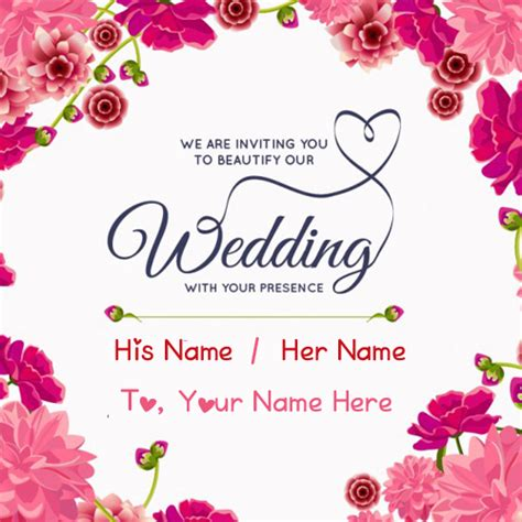 Wedding Card Editing by Wedding Inviting Name Greeting Card Editing