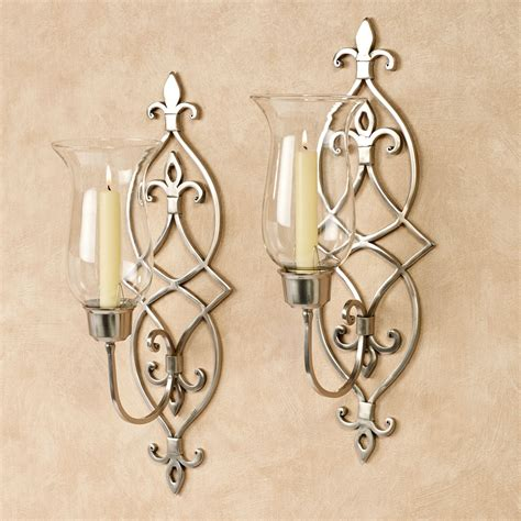Nickel Candle Wall Sconce Jonetia Satin Nickel Hurricane Sconce Pair
