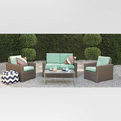 Threshold Heatherstone Wicker 4 Piece Patio Con Target Heatherstone Patio Furniture